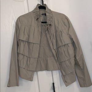 Beige ruffled cotton jacket